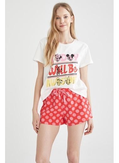 DeFacto Mickey Mouse Lisanslı Pijama Takımı Kırmızı